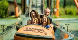 Family on Bambooz River Flume Ride Walibi Rhone Alpes