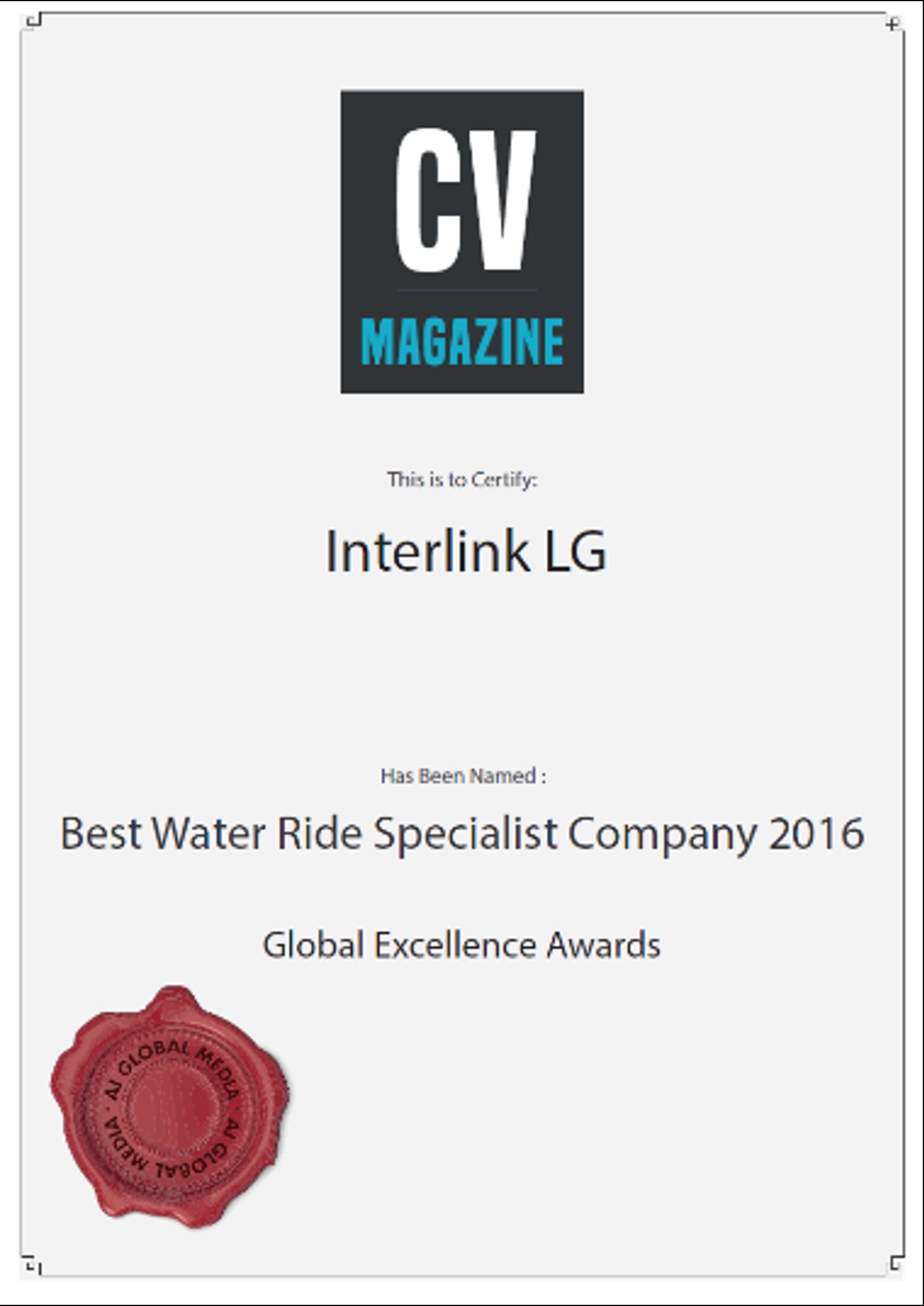 Interlink Best Water Ride Specialist 2016 CV magazine Certificate