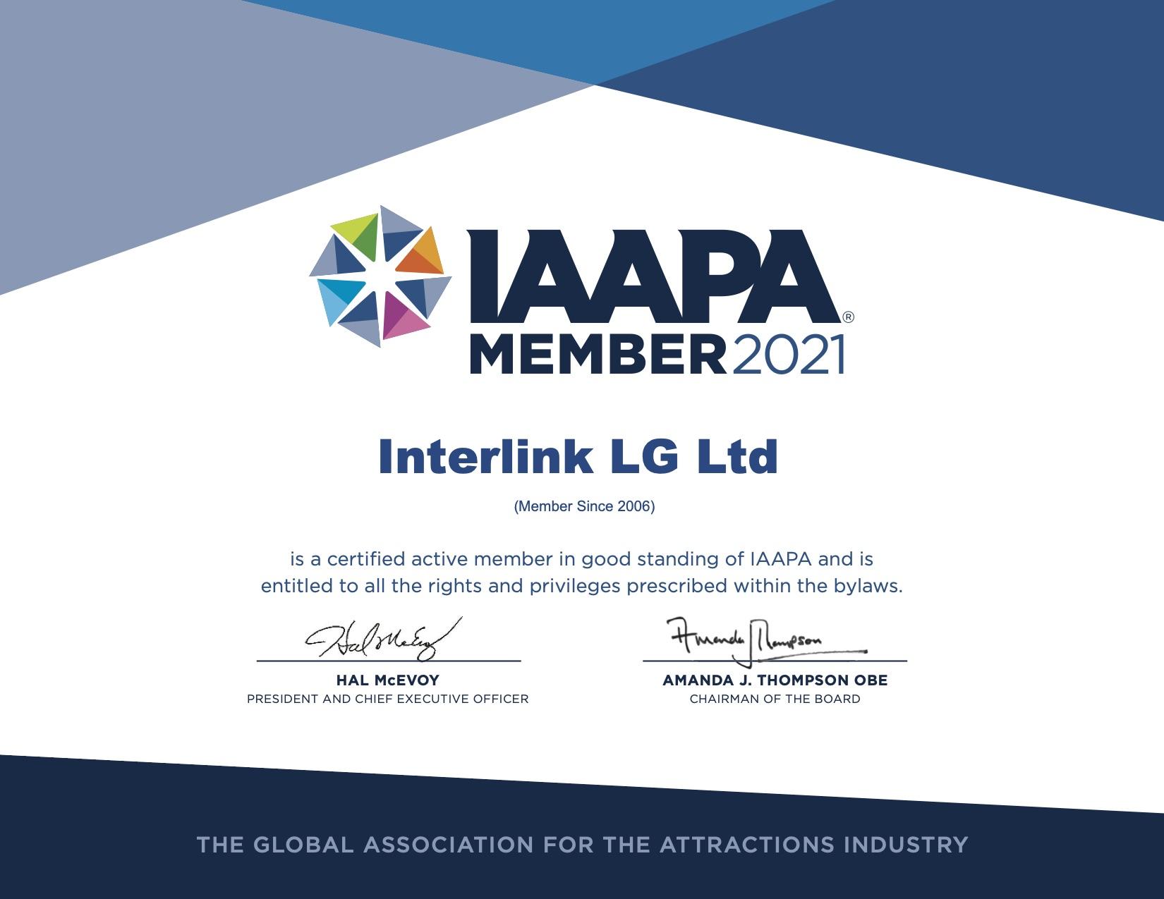 Interlink IAAPA_Member Certificate 2021